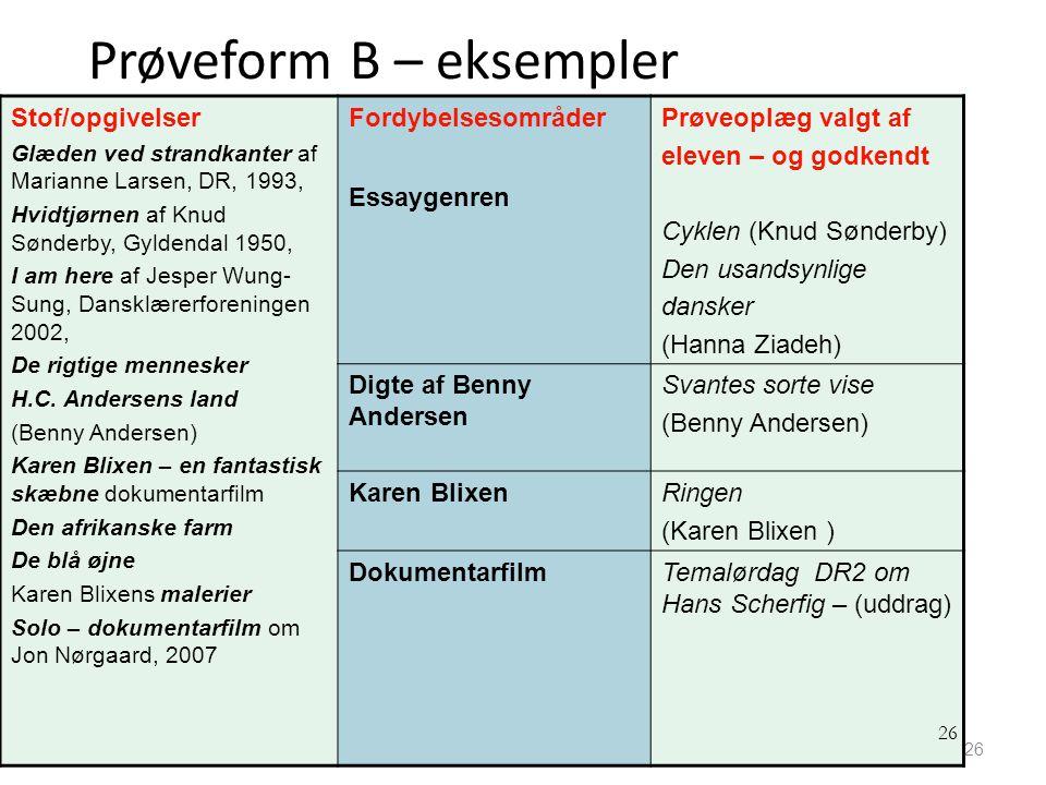 Prøveform B – eksempler
