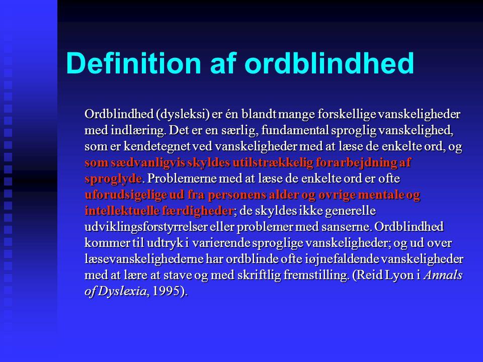 Definition af ordblindhed