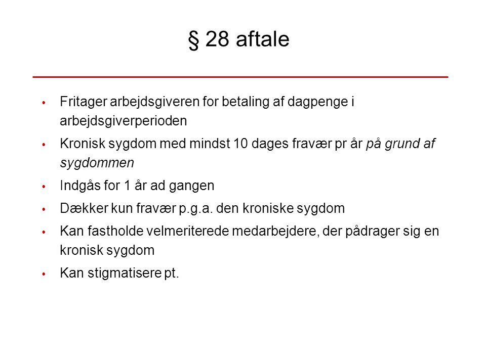 § 28 aftale Fritager arbejdsgiveren for betaling af dagpenge i arbejdsgiverperioden.