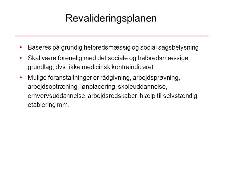 Revalideringsplanen Baseres på grundig helbredsmæssig og social sagsbelysning.