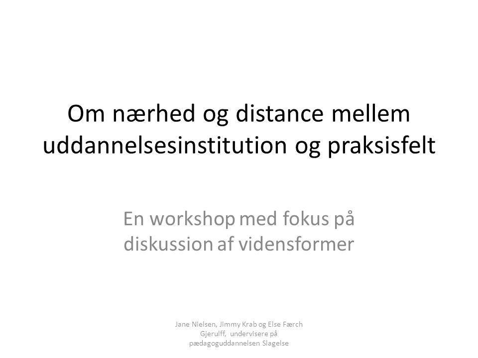 Om nærhed og distance mellem uddannelsesinstitution og praksisfelt
