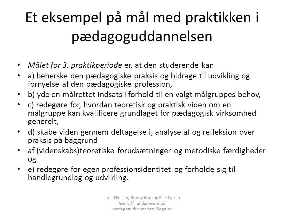 Et eksempel på mål med praktikken i pædagoguddannelsen