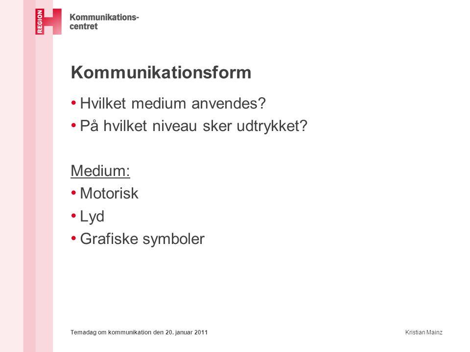 Kommunikationsform Hvilket medium anvendes
