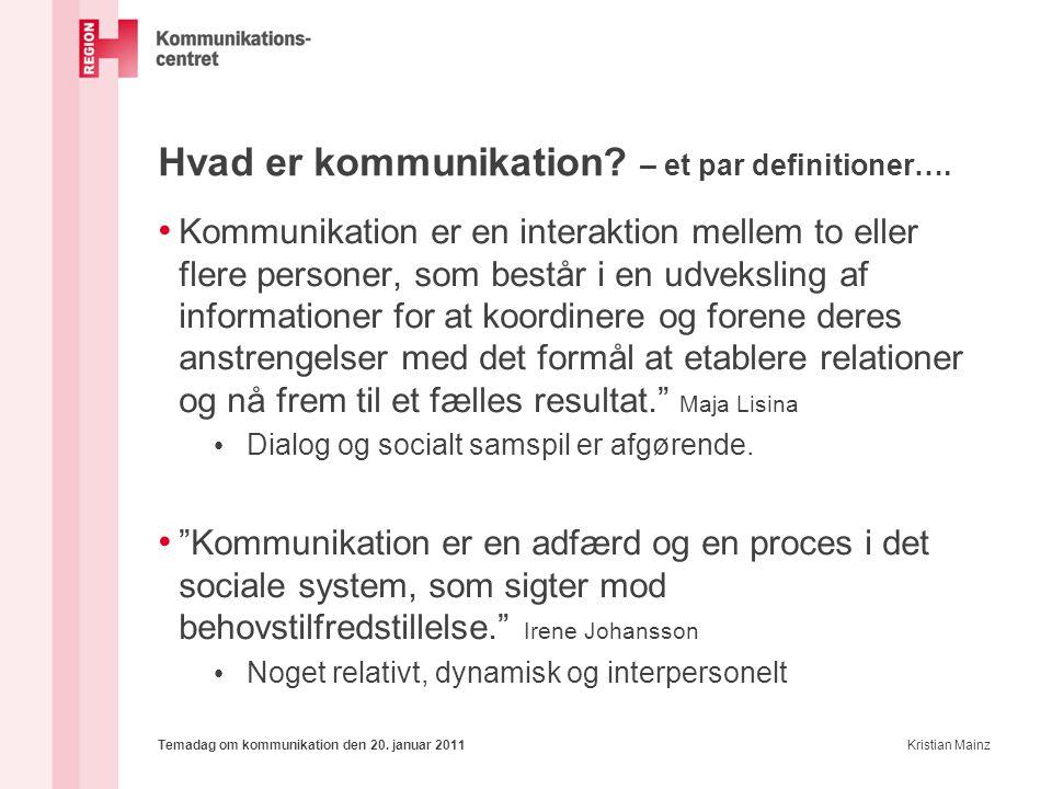 Hvad er kommunikation – et par definitioner….
