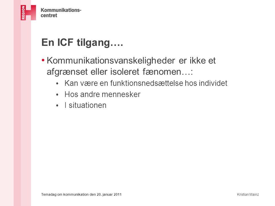 En ICF tilgang…. Kommunikationsvanskeligheder er ikke et afgrænset eller isoleret fænomen…: Kan være en funktionsnedsættelse hos individet.