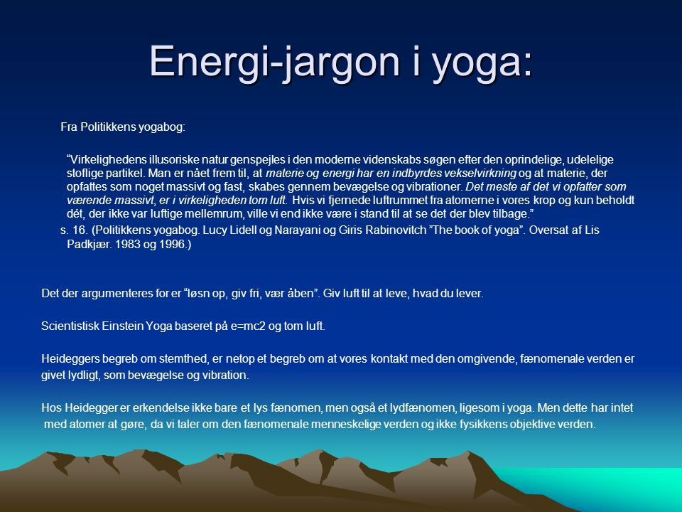 Energi-jargon i yoga: Fra Politikkens yogabog: