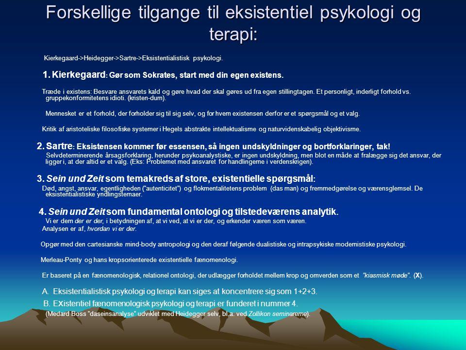 Forskellige tilgange til eksistentiel psykologi og terapi: