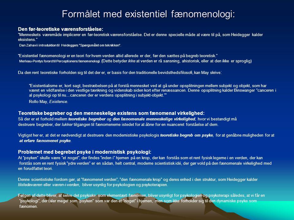 Formålet med existentiel fænomenologi:
