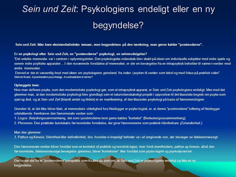 Sein und Zeit: Psykologiens endeligt eller en ny begyndelse