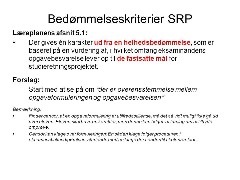 Bedømmelseskriterier SRP