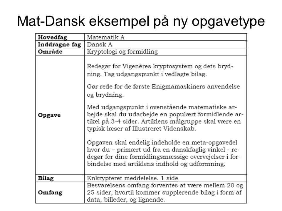 Mat-Dansk eksempel på ny opgavetype