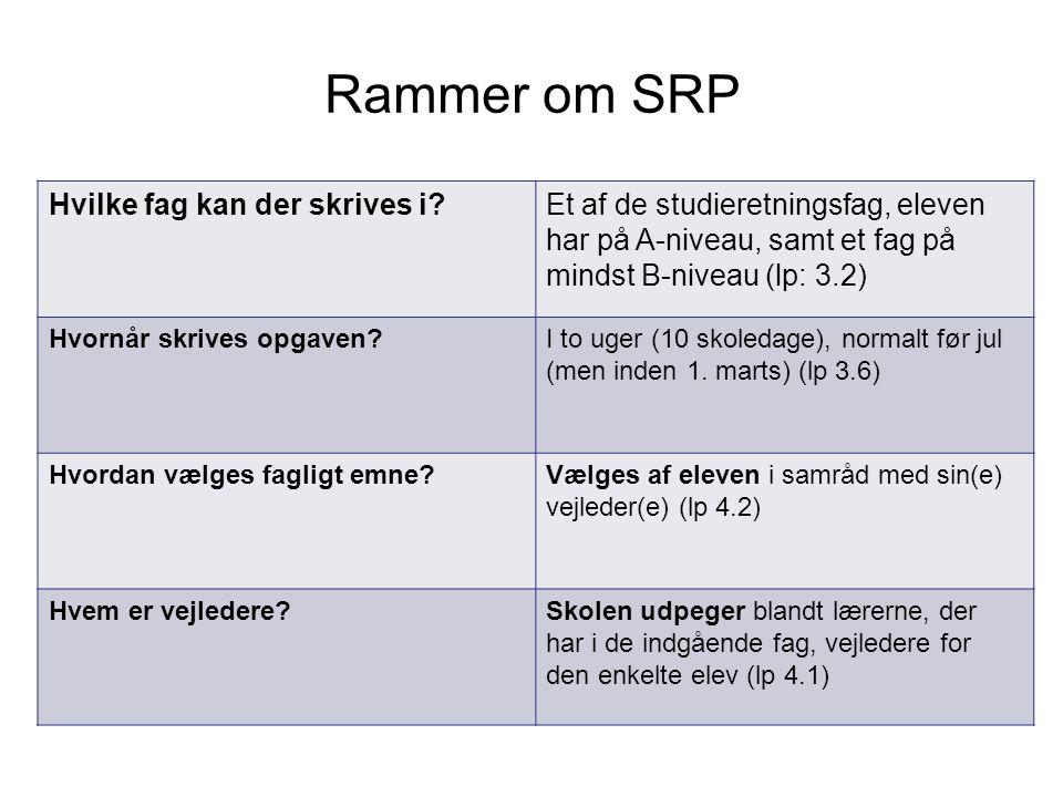 Rammer om SRP Hvilke fag kan der skrives i