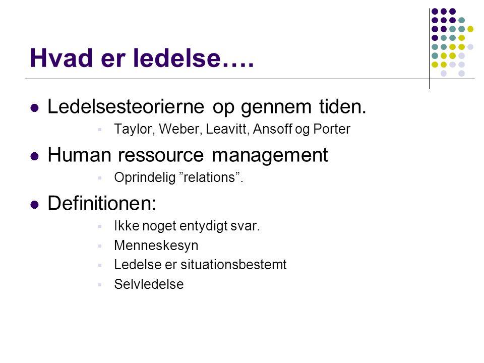 Hvad er ledelse…. Ledelsesteorierne op gennem tiden.