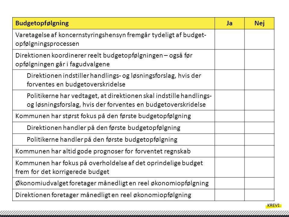 Budgetopfølgning Ja. Nej. Varetagelse af koncernstyringshensyn fremgår tydeligt af budget-opfølgningsprocessen.