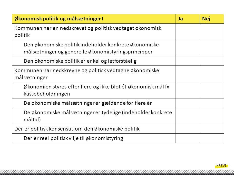 Økonomisk politik og målsætninger I