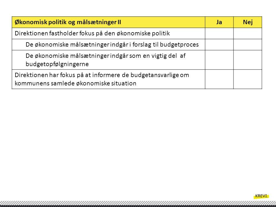 Økonomisk politik og målsætninger II