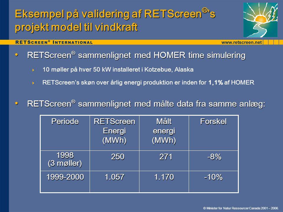 Eksempel på validering af RETScreen®'s projekt model til vindkraft