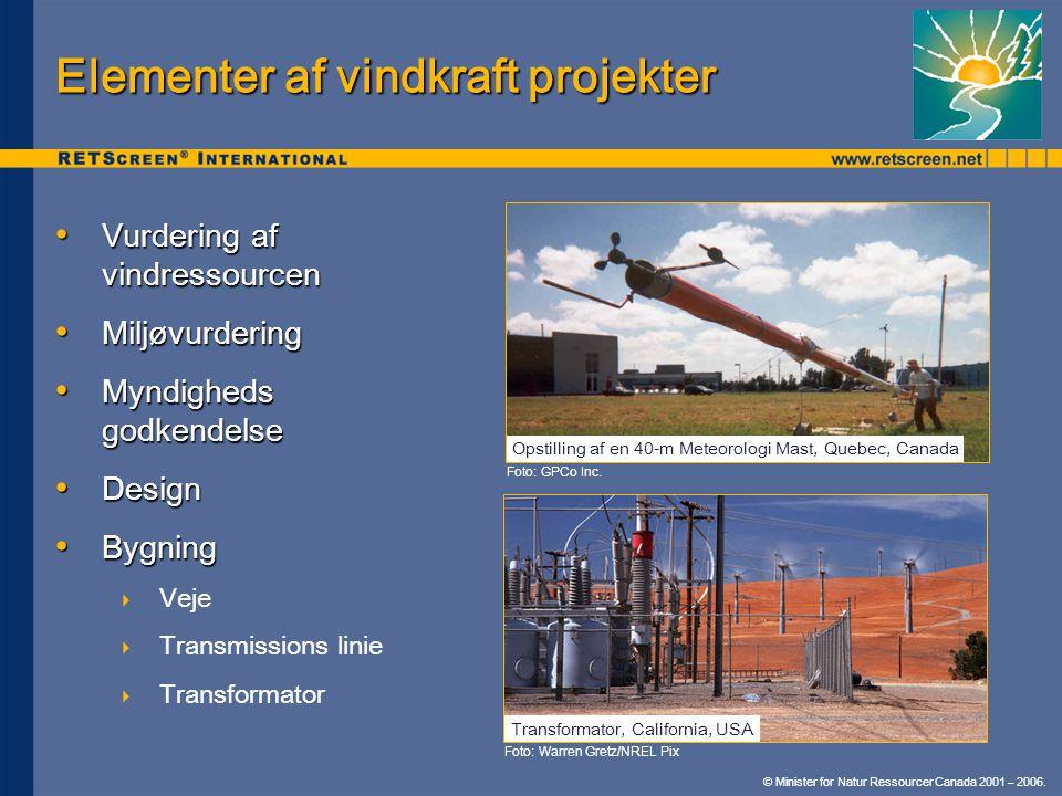 Elementer af vindkraft projekter