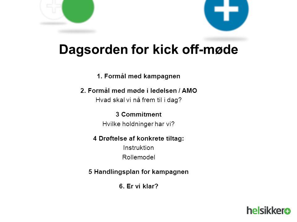 Dagsorden for kick off-møde 5 Handlingsplan for kampagnen