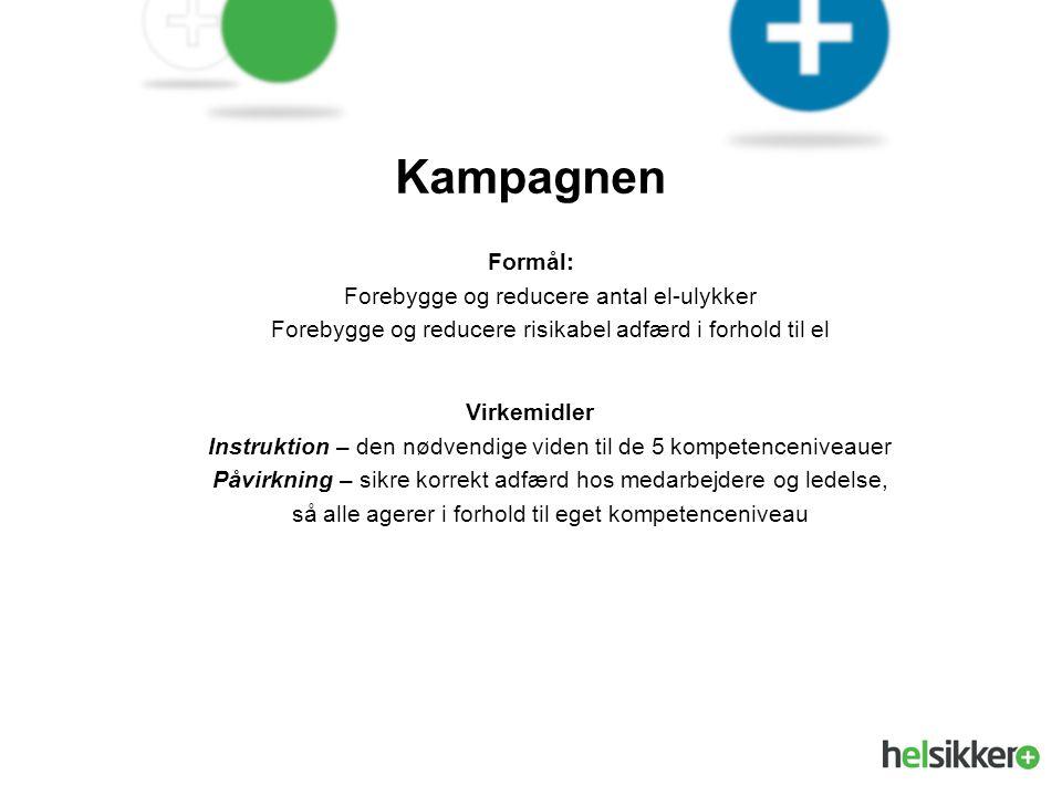 Kampagnen Formål: Forebygge og reducere antal el-ulykker Forebygge og reducere risikabel adfærd i forhold til el.