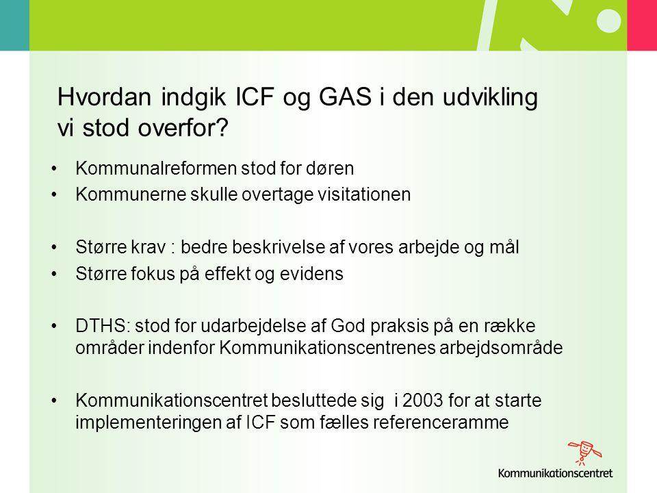 Hvordan indgik ICF og GAS i den udvikling vi stod overfor