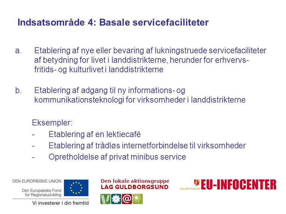 Indsatsområde 4: Basale servicefaciliteter