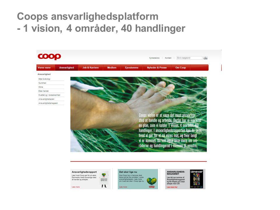 Coops ansvarlighedsplatform - 1 vision, 4 områder, 40 handlinger