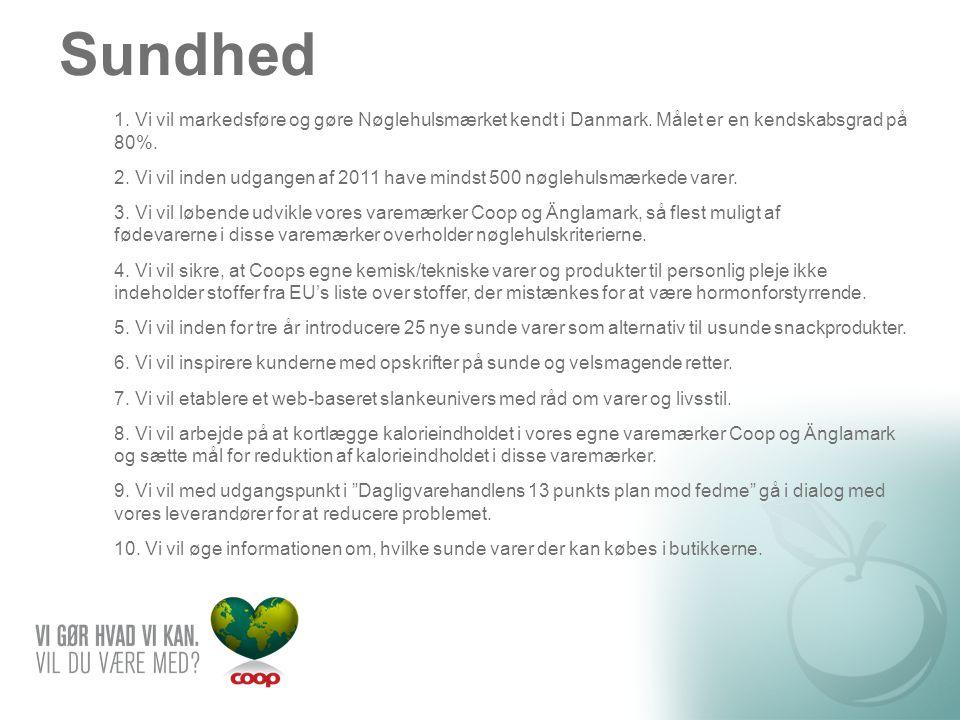Sundhed 1. Vi vil markedsføre og gøre Nøglehulsmærket kendt i Danmark. Målet er en kendskabsgrad på 80%.