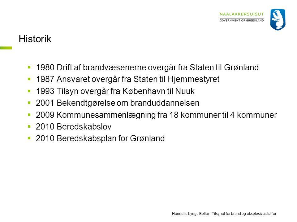Historik 1980 Drift af brandvæsenerne overgår fra Staten til Grønland