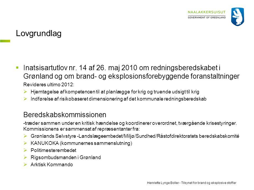 Lovgrundlag Inatsisartutlov nr. 14 af 26. maj 2010 om redningsberedskabet i Grønland og om brand- og eksplosionsforebyggende foranstaltninger.