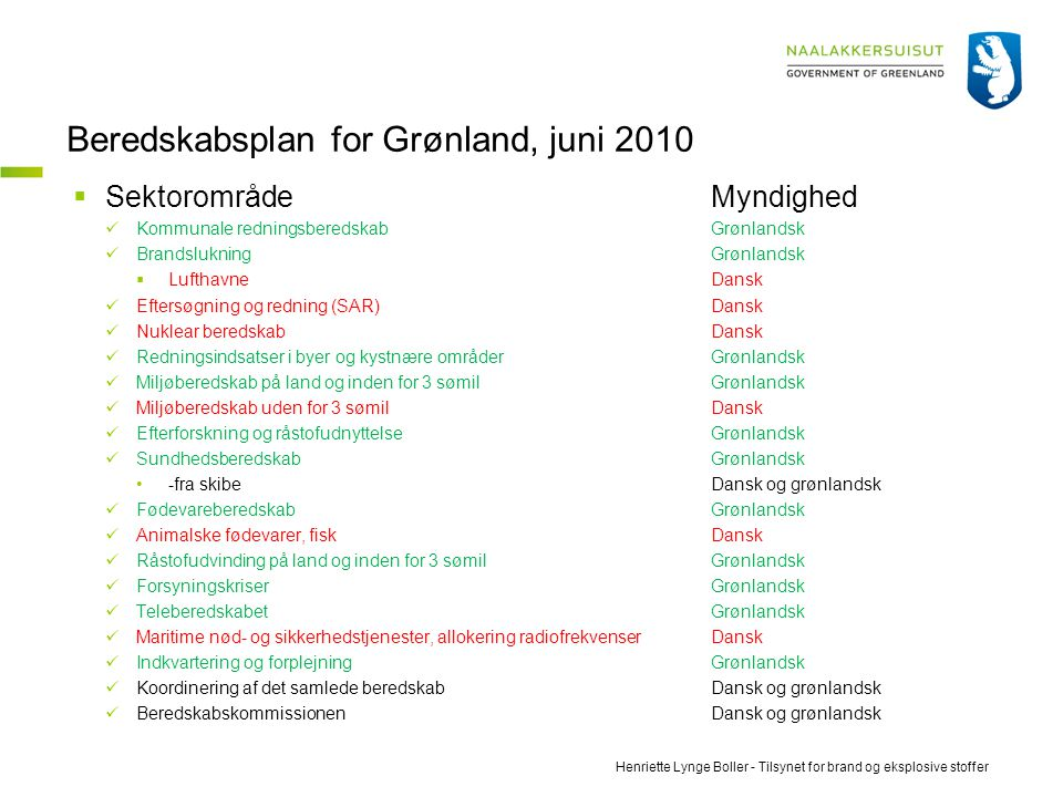 Beredskabsplan for Grønland, juni 2010