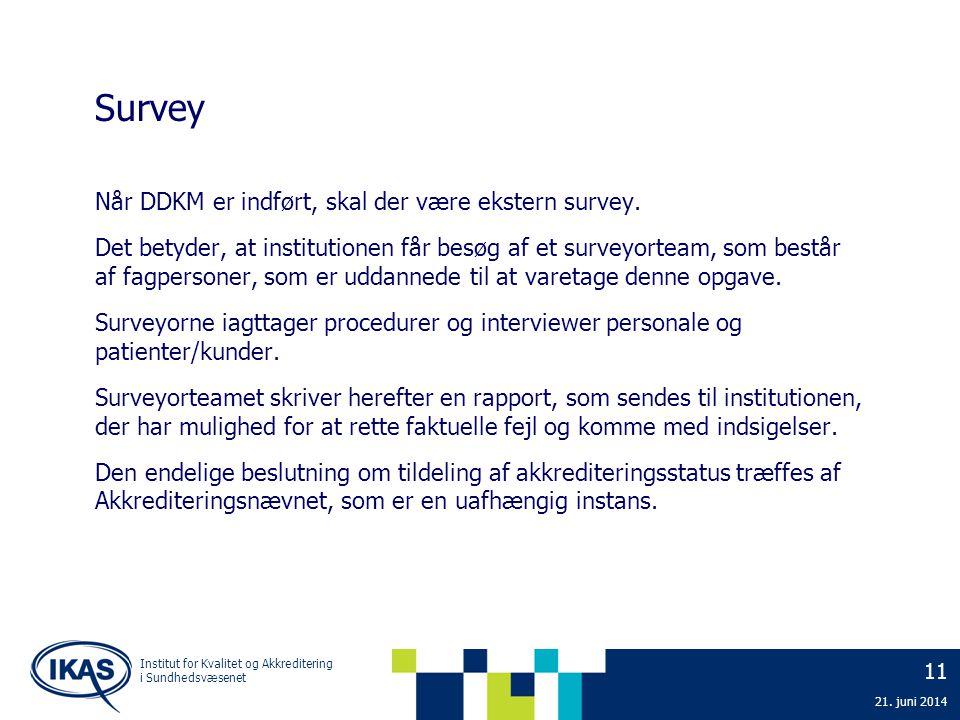Survey Når DDKM er indført, skal der være ekstern survey.