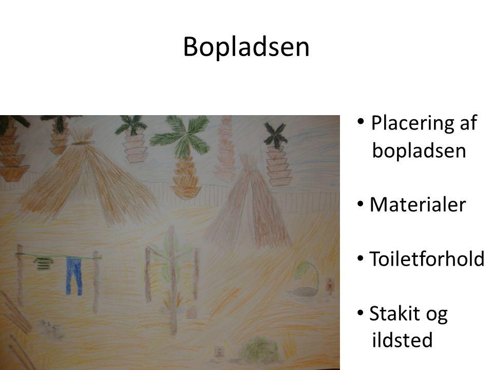 Bopladsen Placering af bopladsen Materialer Toiletforhold Stakit og