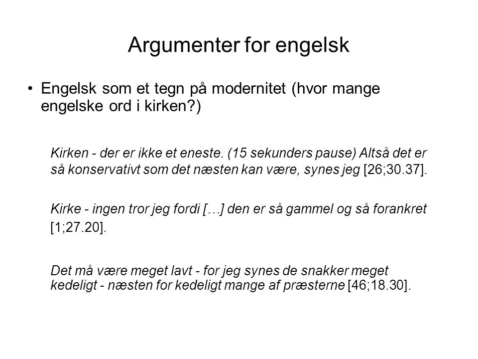 Argumenter for engelsk