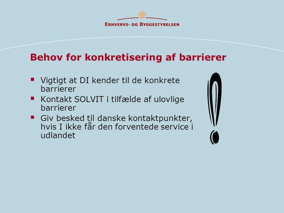 Behov for konkretisering af barrierer