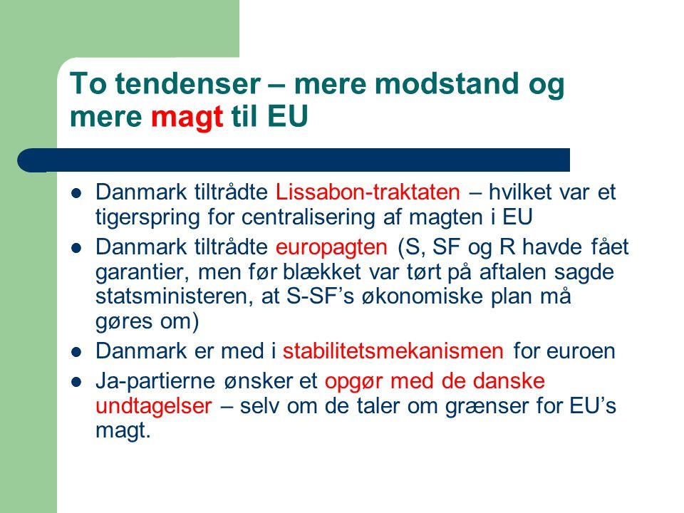 To tendenser – mere modstand og mere magt til EU
