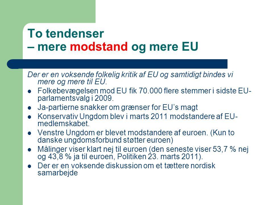 To tendenser – mere modstand og mere EU