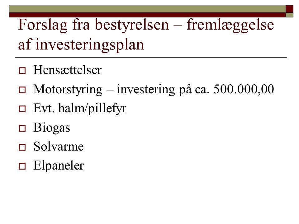 Forslag fra bestyrelsen – fremlæggelse af investeringsplan