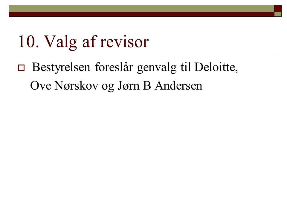 10. Valg af revisor Bestyrelsen foreslår genvalg til Deloitte,