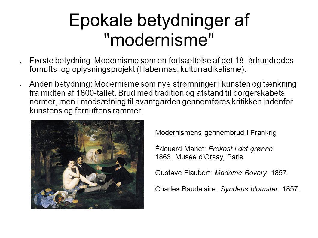 Epokale betydninger af modernisme
