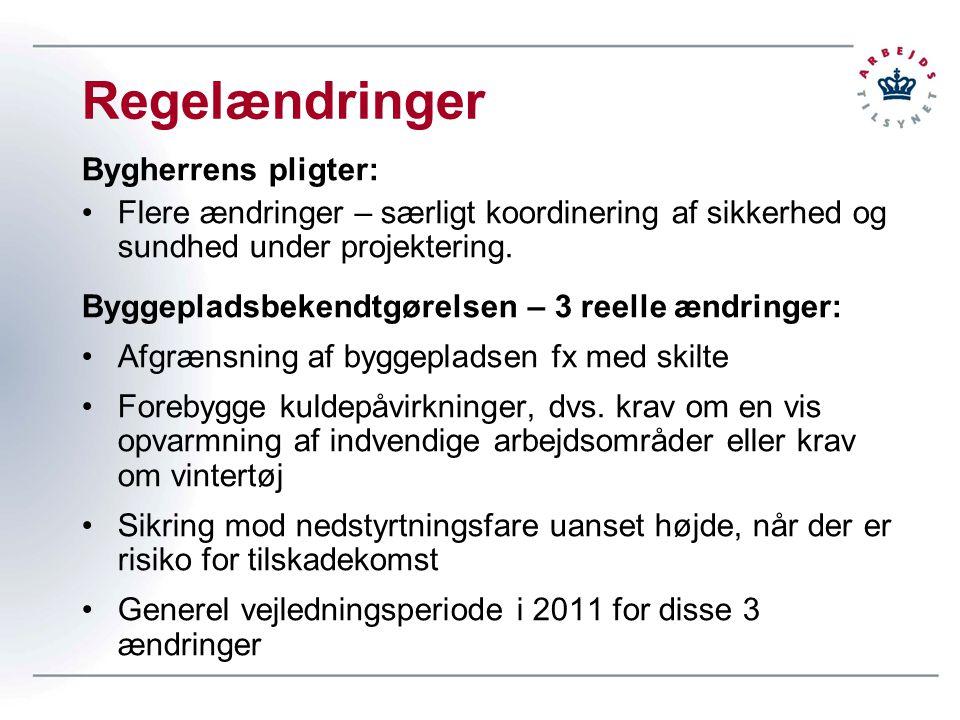 Regelændringer Bygherrens pligter: