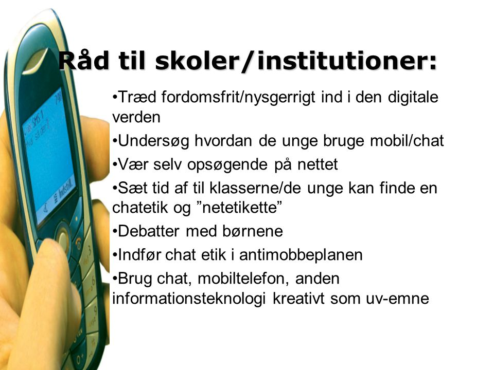 Råd til skoler/institutioner: