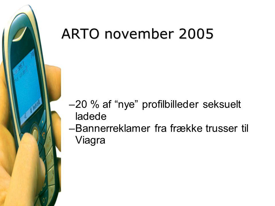 ARTO november 2005 20 % af nye profilbilleder seksuelt ladede