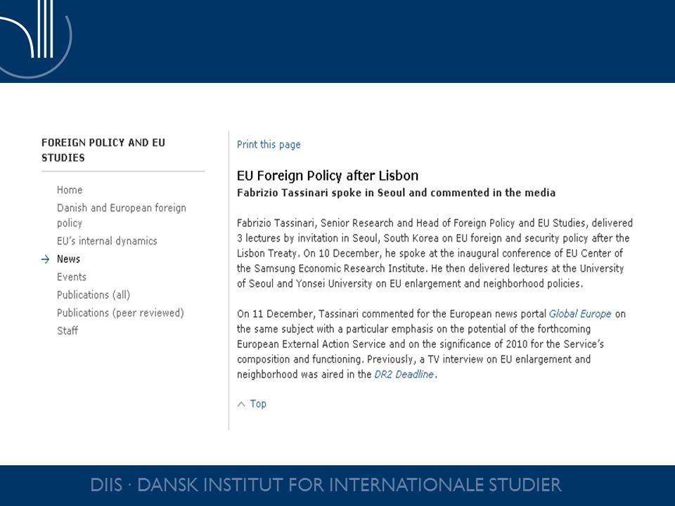 DIIS ∙ DANSK INSTITUT FOR INTERNATIONALE STUDIER