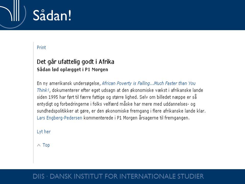 Sådan! DIIS ∙ DANSK INSTITUT FOR INTERNATIONALE STUDIER
