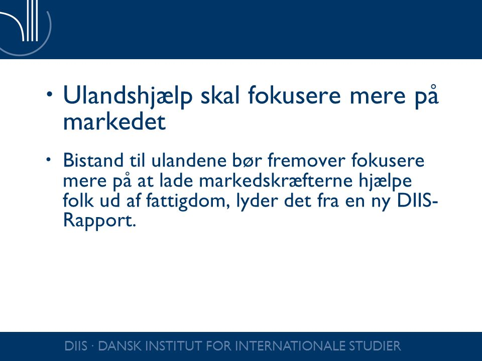 Ulandshjælp skal fokusere mere på markedet