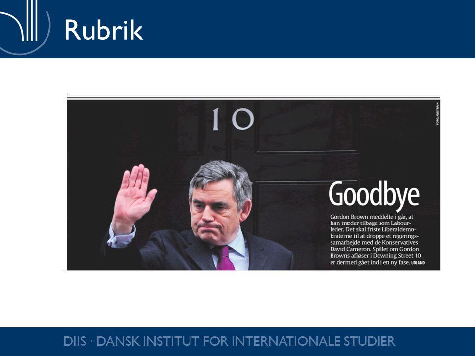 Rubrik DIIS ∙ DANSK INSTITUT FOR INTERNATIONALE STUDIER
