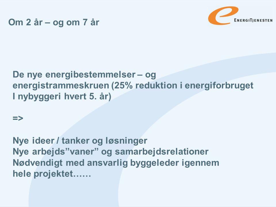 Om 2 år – og om 7 år De nye energibestemmelser – og. energistrammeskruen (25% reduktion i energiforbruget.