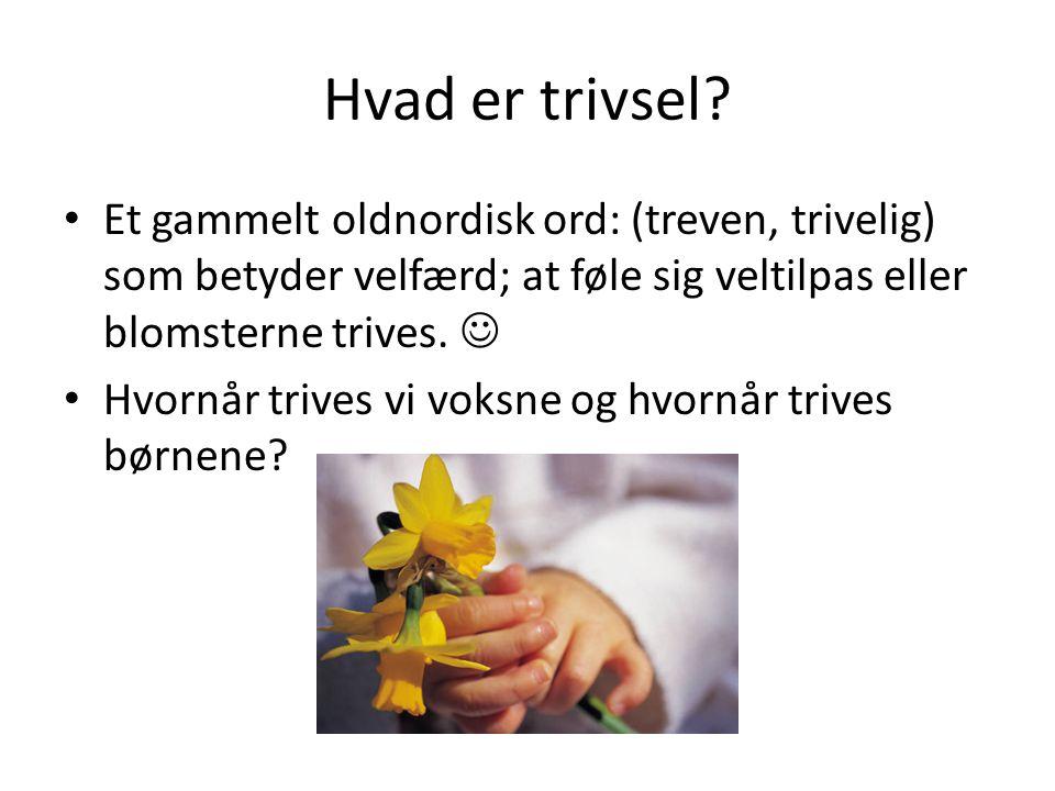 Hvad er trivsel Et gammelt oldnordisk ord: (treven, trivelig) som betyder velfærd; at føle sig veltilpas eller blomsterne trives. 