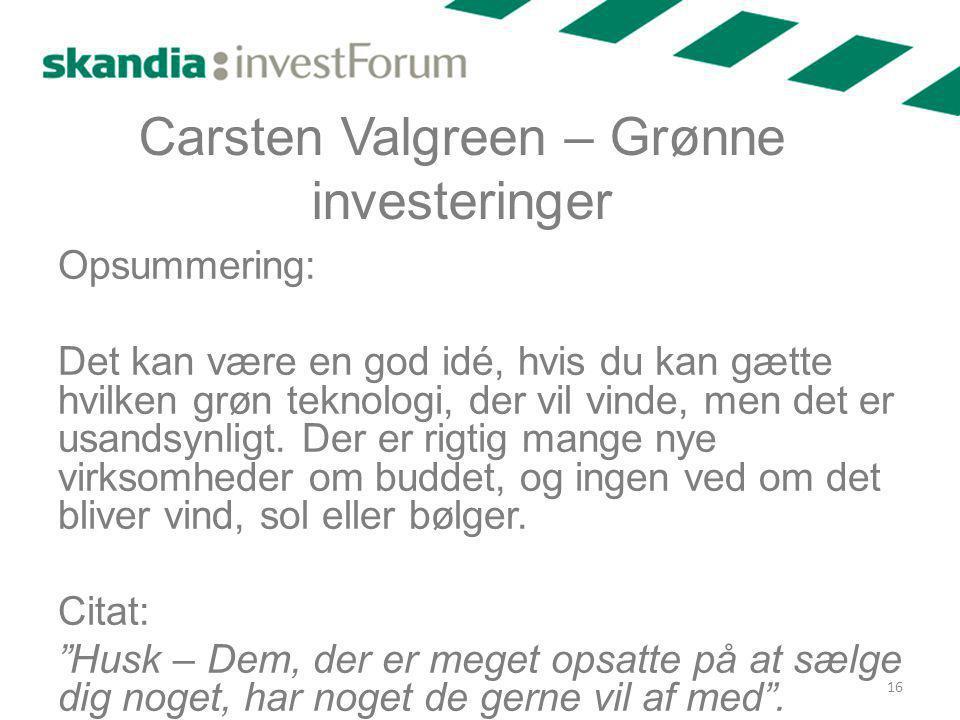 Carsten Valgreen – Grønne investeringer